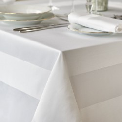 Reutlingen - Nappe carré coton blanc avec bande satinée