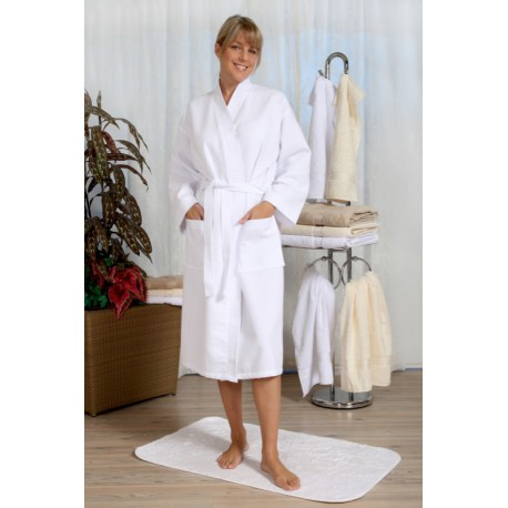 Peignoir col kimono nid d 39 abeille mark linge de bain ltitex for Peignoir nid d abeille